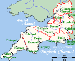 Carte Angleterre Gloucester.West Country Wikipedia