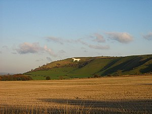 Westbury White Horse - An autumnal view of Westbury White Horse on the edge of Bratton Castle