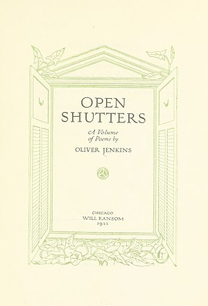 Will Ransom - Open Shutters, a poetry collection by Oliver Jenkins, published by Will Ransom in 1922