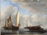 Willem van de Velde the Younger - A Yacht and Other Vessels in a Calm.jpg