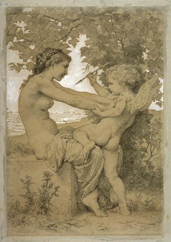 Первичный набросок композиции «Девушки, защищающейся от стрелы Эрота». Частное собрание