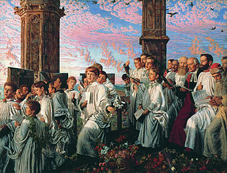 Magdalen Tower - May Morning on Magdalen Tower by William Holman Hunt (1890)