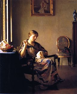 William McGregor Paxton, 1919 - Woman Sewing