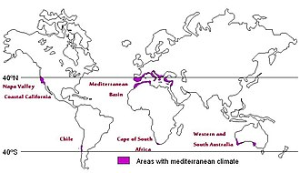 Climate categories in viticulture - Wine regions with Mediterranean climates.