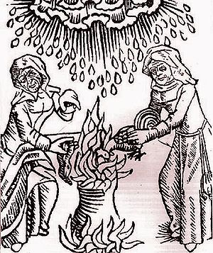 Witches concoct a brew to summon a hailstorm.