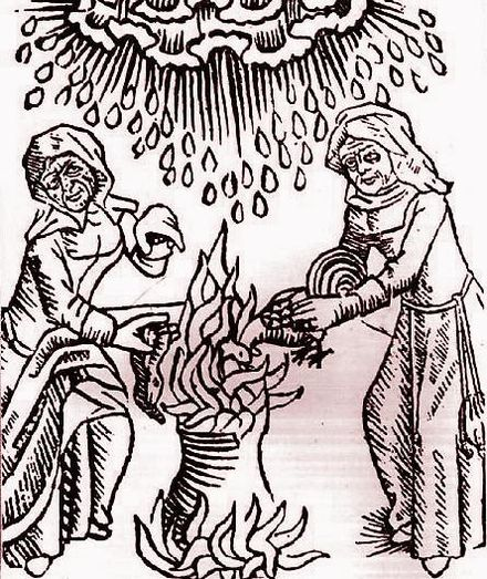 Witches concoct a brew to summon a hailstorm. Witches add ingredients to a cauldron.JPG