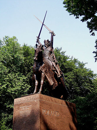 Grunwald Swords - The monument to King Władysław II Jagiełło in Central Park, New York City, United States, depicts him brandishing two swords in victory.