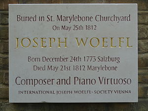 Joseph Wölfl - Woelfl-Plaque (2012) in London Mary-le-bone (200th anniversary of his death)