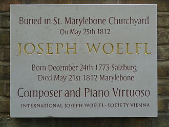 Joseph Wölfl - Woelfl-Plaque (2012) in London Mary-le-bone (200th anniversary of his death)
