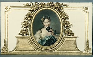 Domino mask - Woman with a mask, 18th century French overdoor painting
