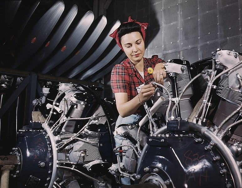 File:Woman working on an airplane motor 1a35287v.jpg