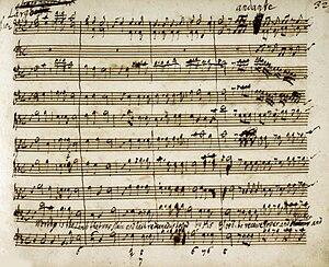 """Messiah Part III - Beginning of """"Worthy is the Lamb"""", ending Part III, in Handel's manuscript"""