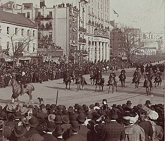 Edwin Warfield - Gov. Warfield leading the 3rd Brigade of the Maryland National Guard in the inaugural parade of 26th President Theodore Roosevelt on Pennsylvania Avenue in Washington, D.C., photographed by William H. Rau on March 4, 1905