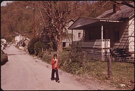 A child walking in Chattaroy, West Virginia