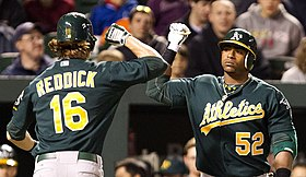Yoenis Céspedes and Josh Reddick on April 27, 2012.jpg