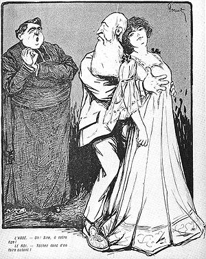 "Caroline Lacroix - A contemporary cartoon lampooning Leopold's relationship with Caroline. A priest is exclaiming, ""Oh Sire! At your age!"" and the king answers ""Try it for yourself!"""