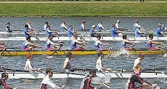 University rowing (UK) - The start of a race at BUCS Regatta
