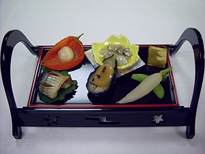 Japanese cuisine - Kaiseki appetizers on a legged tray