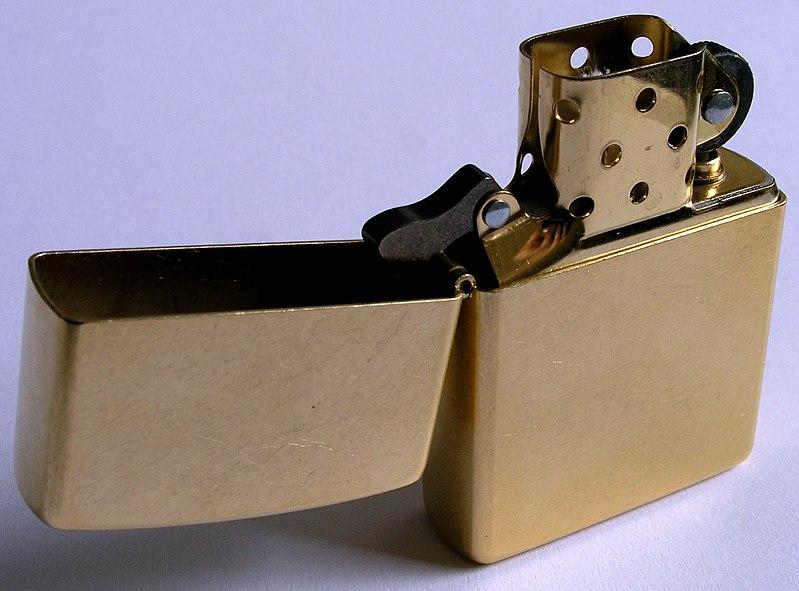 File:Zippo-Lighter Gold-Dust w brass-insert.jpg