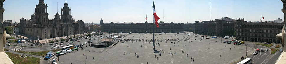 Zocalo Panorama seen from rooftop restaurant