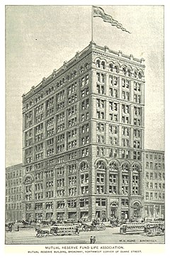 (King1893NYC) pg687 MUTUAL RESERVE FUND LIFE ASSOCIATION. MUTUAL RESERVE BUILDING, BROADWAY, NORTHWEST CORNER OF DUANE STREET.jpg