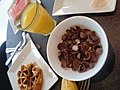 (a glass of orange juice a banana a waffle Breakfast cereal with milk).jpg