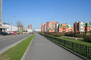 Kurkino District - A street in the Moscow's suburb of Kurkino, built in the 2000s.