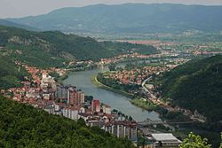Downtown Zvornik and Drina River