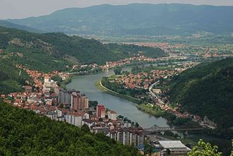 Zvornik - Downtown Zvornik and Drina River