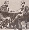 ილია ჭავჭავაძე და ივანე მაჩაბელი ჭადრაკის თამაშის დროს, პეტერბურგი, 1873 წ. ფოტოგრაფი კ. ფოსტი.JPG