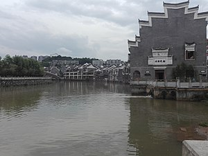 Chenzhou - Chen River and the residential on the river bank in Chenzhou City