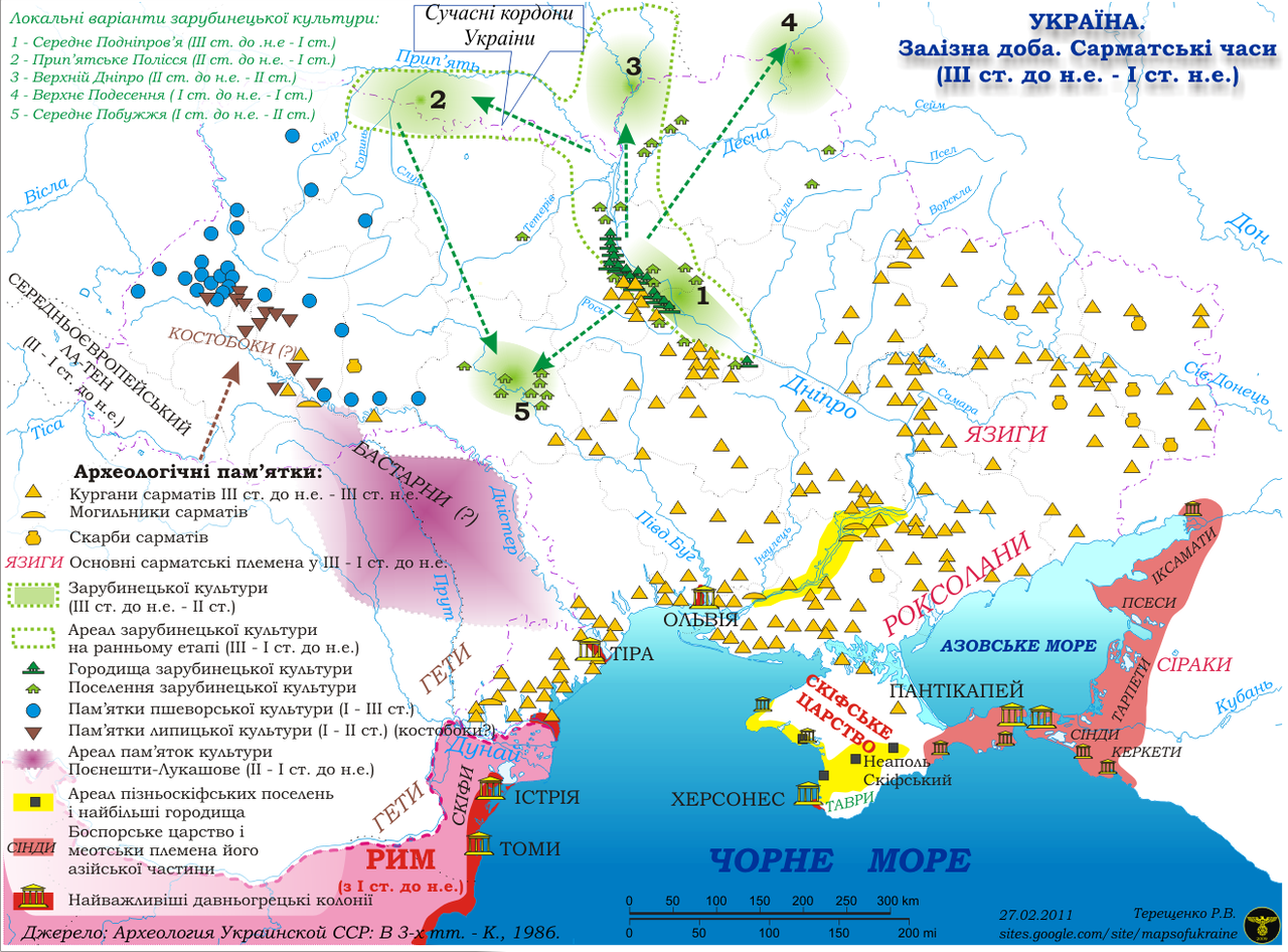 Мапа Зарубинецької культури