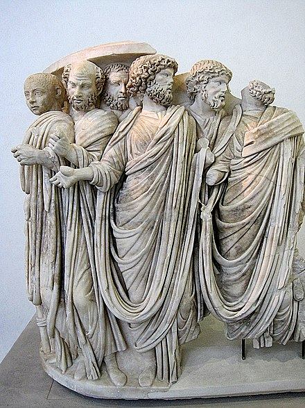 Fragment of a sarcophagus depicting Gordian III and senators (3rd century) 0 Sarcophage d'Acilia - Pal. Massimo alle Terme.JPG
