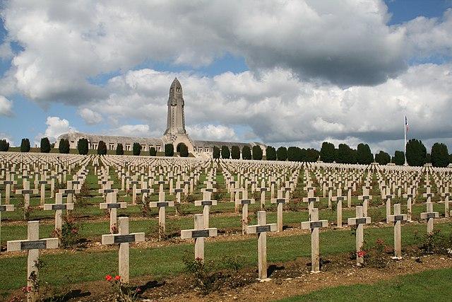 Cemetery with Douaumont ossuary Verdun.