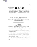116th United States Congress H. R. 0000166 (1st session) - Fair Lending for All Act.pdf