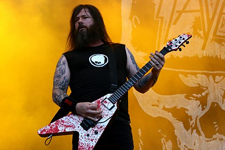 Exodus guitarist Gary Holt joined Slayer in 2011, originally as a touring member, and later became an official replacement for Jeff Hanneman, who died in 2013. 14-06-08 RiP Slayer Gary Holt 2.JPG