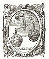 "1612 Titelpagina Beschryvinghe (cropped) - Book emblem - Hand from the sky holds balance with globes ""Praestat"".jpg"
