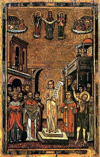 Byzantine music - An icon depicting Romanos the Melodist (c. 490–556) with a kontakion roll