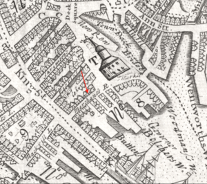Merchants Row (Boston) - Detail of 1743 map of Boston, showing Merchants Row at the waterfront