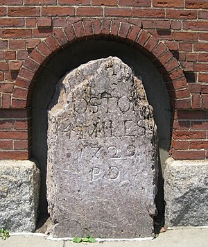 National Register of Historic Places listings in southern Boston - Image: 1767Milestone Huntington