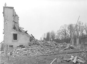 17th SS Panzergrenadier Division Götz von Berlichingen - The 17th SS Division's headquarters after bombardment by the USAAF on November 8, 1944
