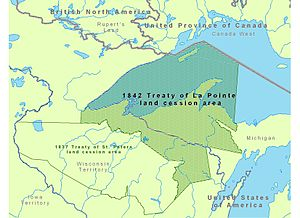 Treaty of La Pointe - Map showing the 1842 Treaty of La Pointe land cession area of what now is Minnesota's portion of Lake Superior, Wisconsin and Michigan.