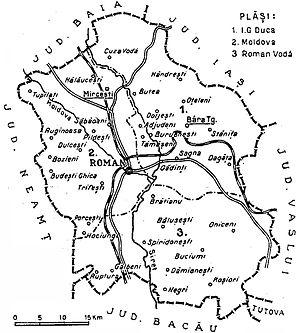Roman County - Image: 1938 map of interwar county Roman