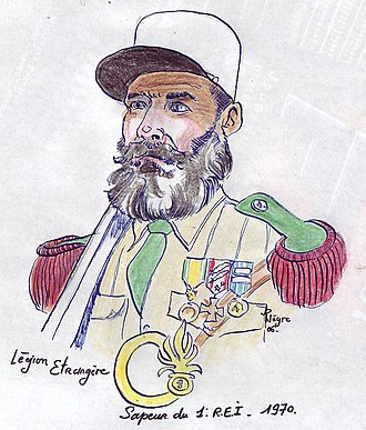 Foreign Legion Pioneers (Pionniers) - A Pionniers Sapeurs of the 1st Foreign Infantry Regiment 1er REI during 1970 with Medaille Militaire, Croix de la Valeur Militaire (2 palms and 2 stars), Médaille d'Outre-Mer (2 agrafes-clasps).