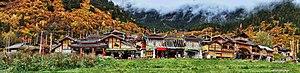 Jiuzhaigou - Panorama of Shuzheng Village, the busiest Tibetan village in the valley