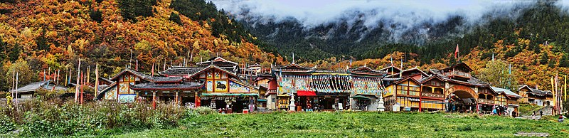 1 jiuzhaigou valley shuzheng village panorama 2011.jpg
