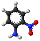 Ball-and-stick model of the 2-nitroaniline molecule