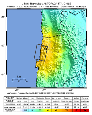 2007 Tocopilla earthquake - Image: 2007 14 Nov Chile earthquake
