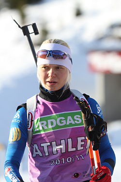Mari Eder in Hochfilzen 2010 (Training)