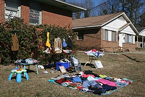 English: Yard sale on Green Street in .